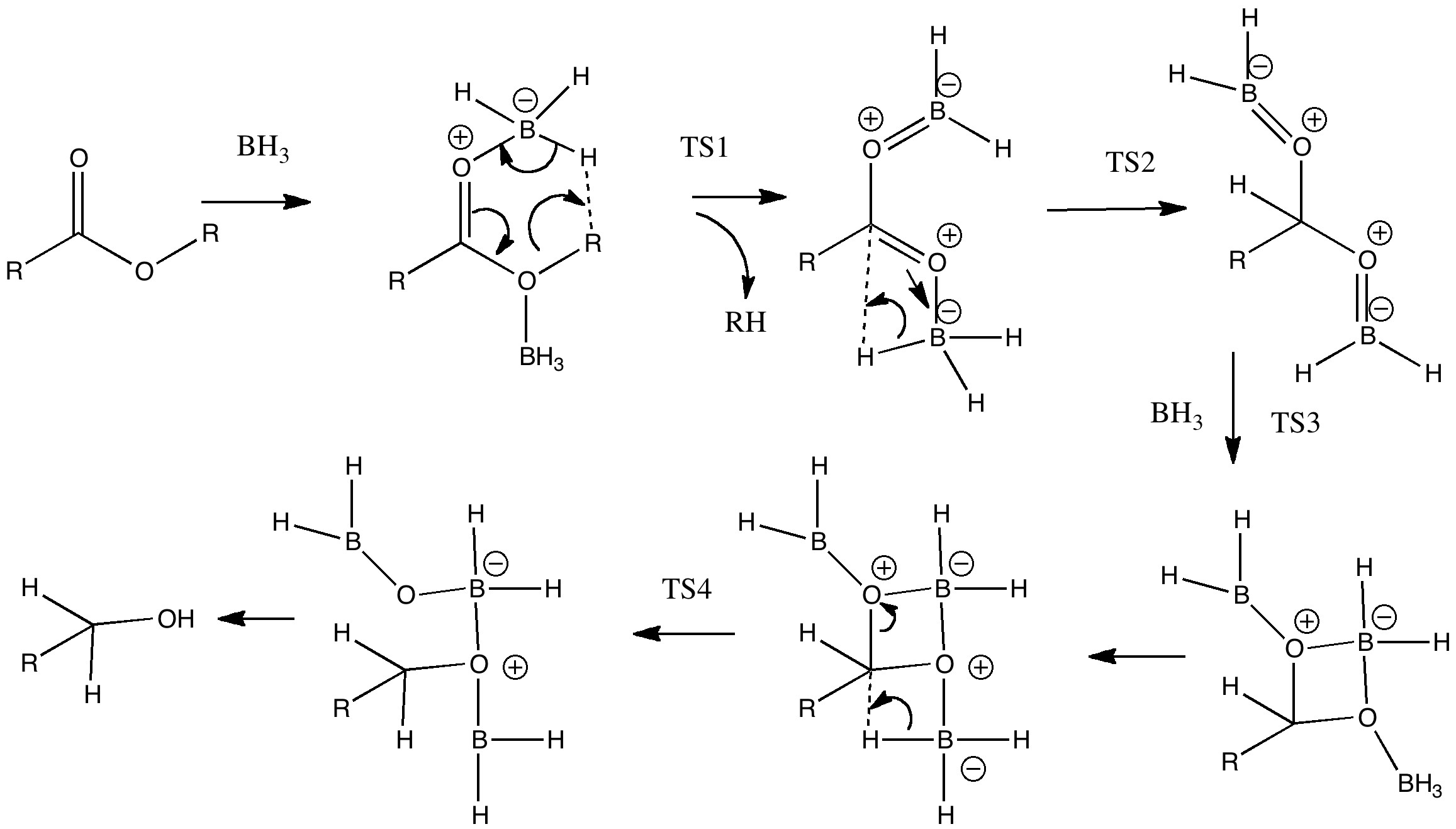 Acyloxyborane, alternative transition state for dihydrogen elimination