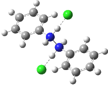 Anti-diprotonated diphenyl hydrazine. Click for  3D.