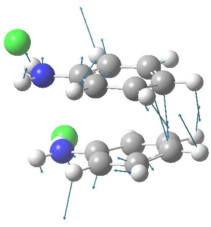 The [5,5] transition state for the benzidine rearrangement. Click for  3D.